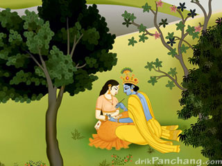 Krishna Applying Henna on Palm of Radha