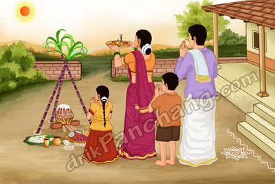 Family worshipping Lord Surya while celebrating Pongal