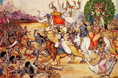 annihilation of Mahishasura<br />from Durga Saptashati