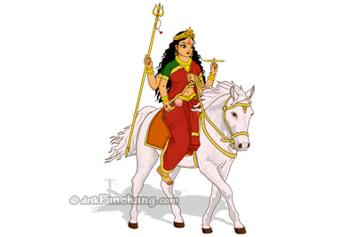 Arrival of Durga on Horse