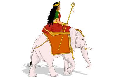 Departure of Durga on Elephant