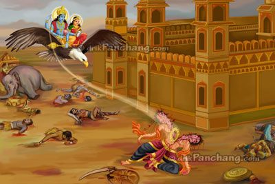Lord Krishna slaying demon Narakasura