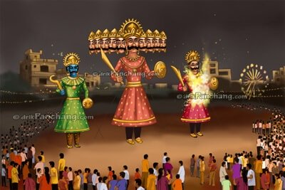 effigy of Ravana getting<br />burned during Dussehra