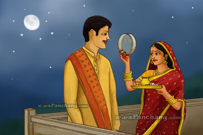 woman sighting husband through<br />sieve during Karwa Chauth