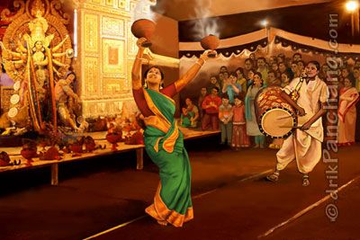 Dunuchi Dance during Durga Puja