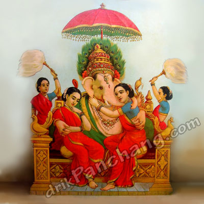 Lord Ganesha with wives Riddhi and Siddhi