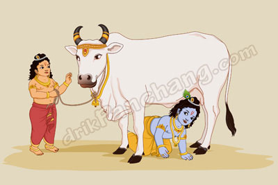 Gopashtami - Lord Krishna and Lord Balaram with Gau Mata