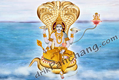 Lord Vishnu in Ksheer Sagar