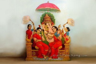 Lord Ganesha with Riddhi Siddhi