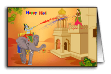Krishna riding elephant on Holi