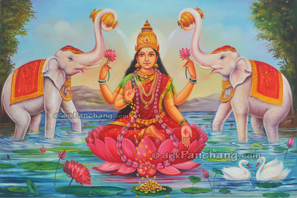 Goddess Lakshmi sitting on Lotus
