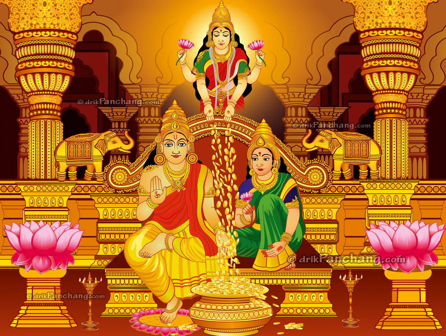 Lakshmi With Kubera And Kauberi