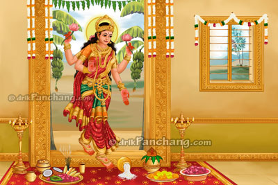 welcoming Goddess Lakshmi into home