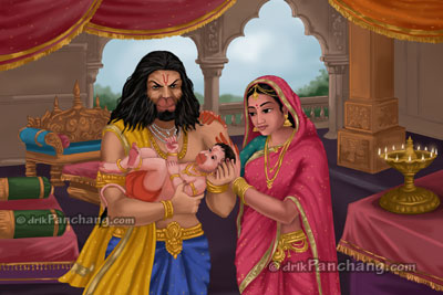 Bal Hanuman with Anjana and Kesari
