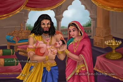 Bal Hanuman with Anjana and Kesari