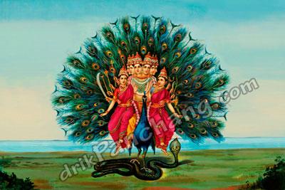 Lord Murugan sitting on peacock