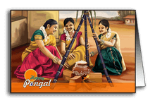 Ladies preparing Pongal
