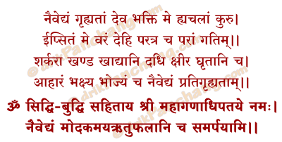 Naivedya Nivedan Mantra in Hindi