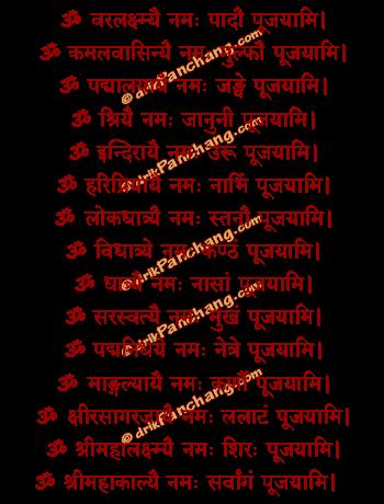 Anga Pujan Mantra in Hindi