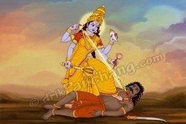 Goddess Ekadashi killing Demon Mura